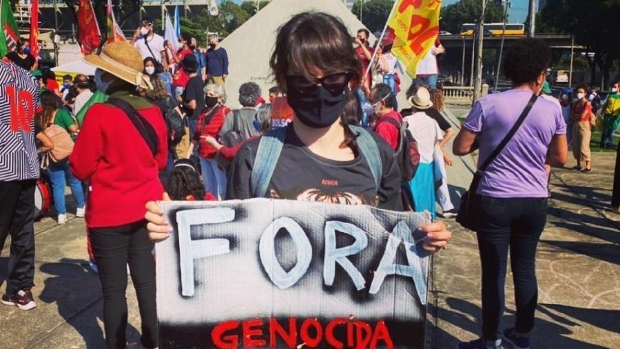 A atriz Bianca Bin participou dos protestos contra Bolsonaro no Rio de Janeiro - Reprodução/Instagram