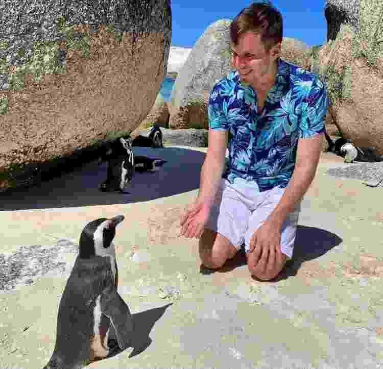 Encontro com pinguins durante a passagem pela África do Sul - Arquivo Pessoal - Arquivo Pessoal