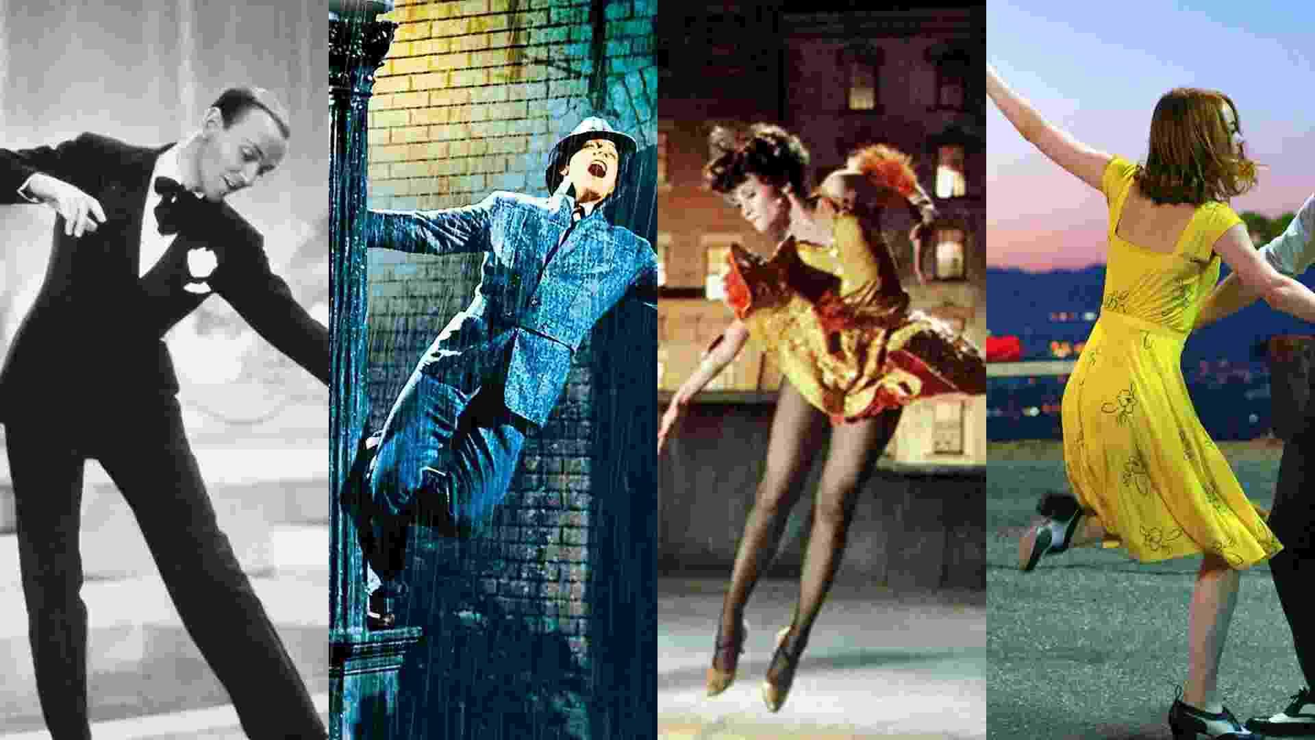 """Cena do filme Cena do filme """"O Picolino"""" (1935), de Mark Sandrich/ """"Cantando na Chuva"""" (1952), de Stanley Donen e Gene Kelly/ """"Charity, Meu Amor"""" (1969), de Bob Fosse/ """"La La Land: Cantando Estações"""" (2016), de Damien Chazelle - Reprodução/Montagem"""