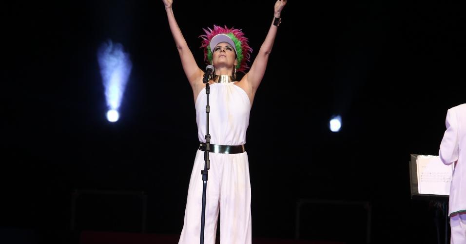 15.fev.2017 - Fernanda Abreu foi uma das convidadas do Show de Verão da Mangueira, realizado no Tom Brasil, em São Paulo