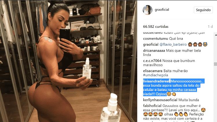 Lívia Andrade comenta em foto de Gracyanne - Reprodução/Instagram - Reprodução/Instagram