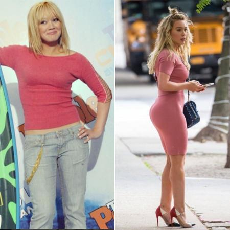 Hillary Duff antes e depois - Reprodução/Instagram/Twitter