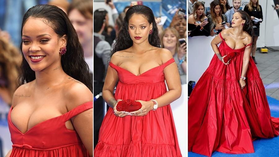 """Rihanna usa longo com decote na pré-estreia de """"Valerian e a Cidade dos Mil Planetas"""" nesta segunda (24) - AFP/Getty Images"""