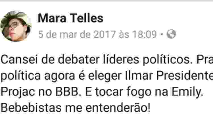 Mara Telles também criticou Emilly Araújo nas redes sociais - Reprodução/Facebook