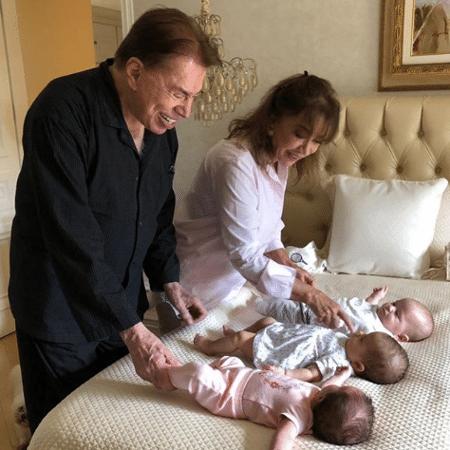Silvio Santos e Iris Abravanel brincam com os netos mais novos - Reprodução/Instagram/patriciaabravanel