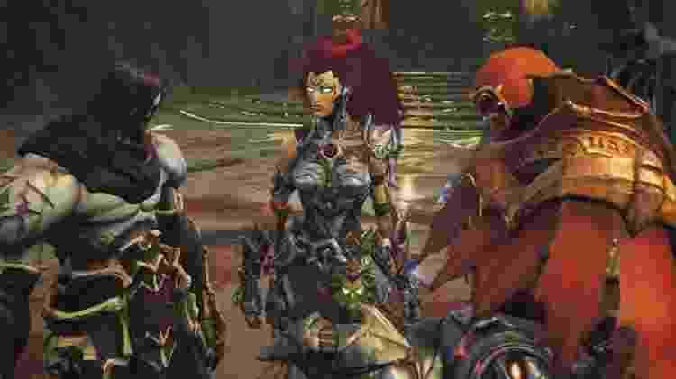 A protagonista Cólera junto com os seus irmãos Morte e Guerra. - Reprodução