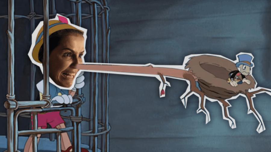A vilã Karola: como Pinóquio, ela vai se arrepender de tanta mentira - Montagem/UOL