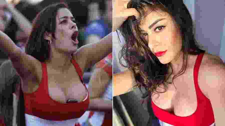 Larissa Riquelme na Copa do Mundo de 2010 e com a mesma roupa para a Copa América 2019 - Montagem/UOL/Reprodução/Acervo pessoal
