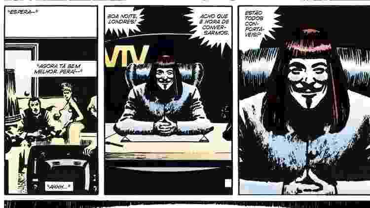 Página interna de V de Vingança - Divulgação/Panini Comics - Divulgação/Panini Comics