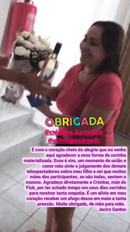 BBB 21: Story de Jacira Santana, mãe de Gilberto, mostrando as flores recebidas por Cristina Kartalian, mãe de Fiuk - Reprodução/Instagram - Reprodução/Instagram