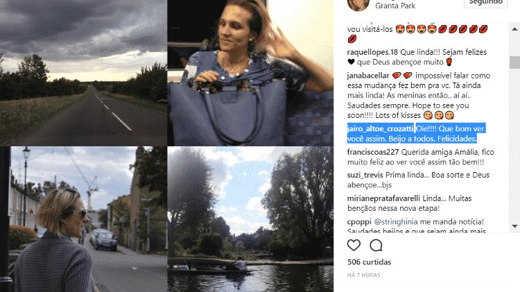 Amalia Stringhini responde comentário e comemora mudança para a Inglaterra - Reprodução/Instagram/stringhinia - Reprodução/Instagram/stringhinia