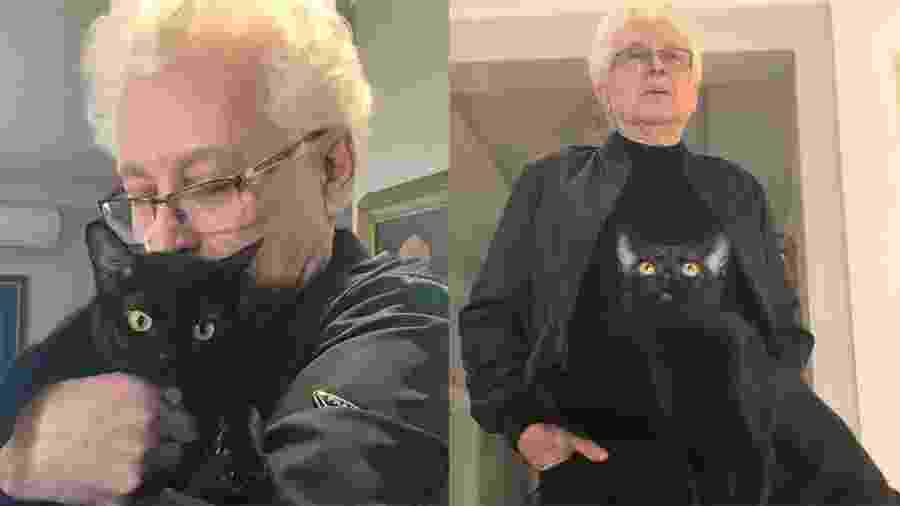 Aguinaldo Silva com um dos gatos que interpreta Leon na novela - Arquivo Pessoal