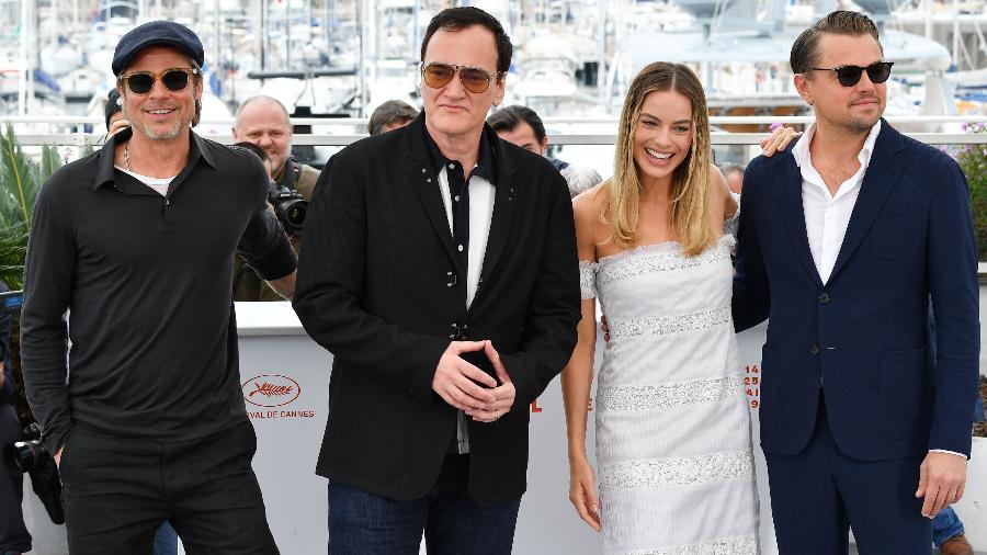 """Brad Pitt, Quentin Tarantino, Margot Robbie e Leonardo DiCaprio promovem """"Era uma vez em Hollywood"""", no Festival de Cannes - George Pimentel/WireImage/Getty Images"""