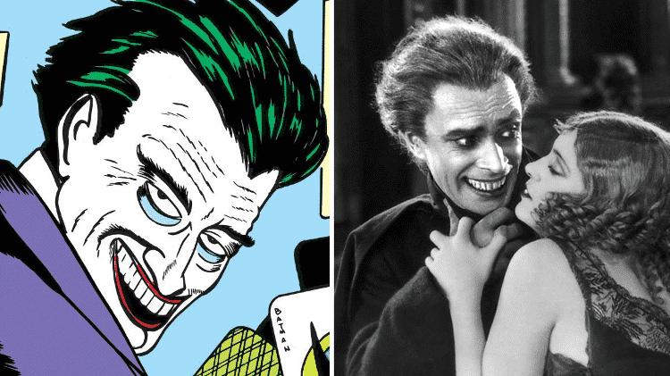 O personagem Coringa em quadrinhos da década de 40 e cena do filme O Homem Que Ri - Reprodução/Montagem - Reprodução/Montagem