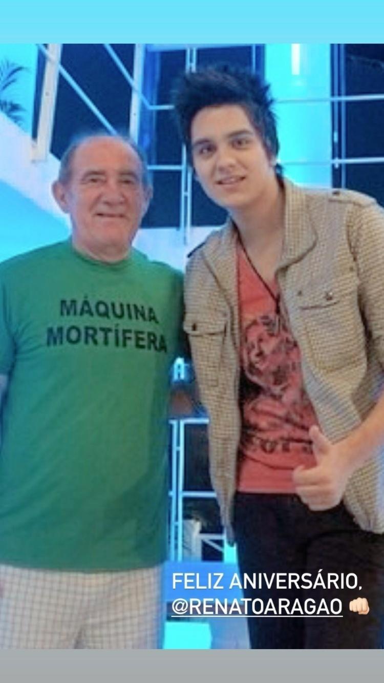 Renato Aragão e o cantor Luan Santana