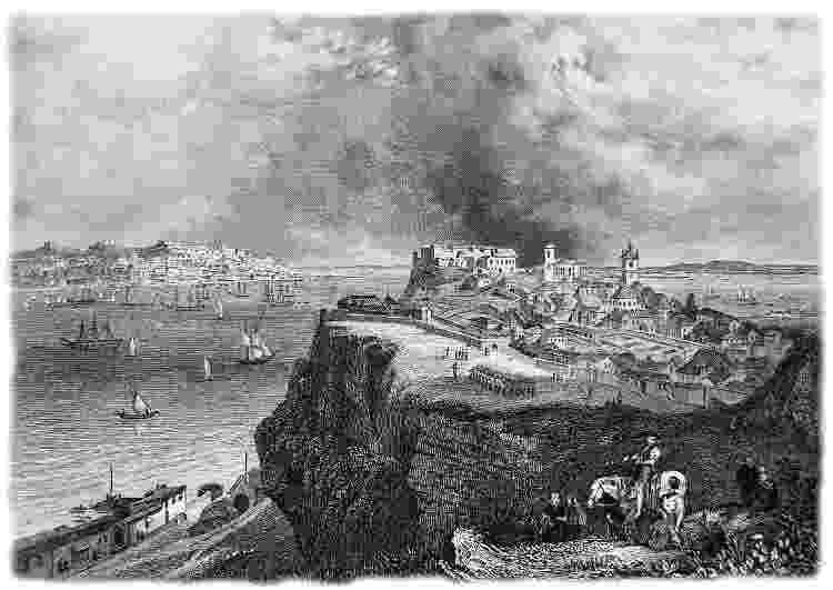 Vista de Lisboa, a primeira parada internacional da corveta Vital de Oliveira, em 1879 - Imagens cedidas pela Editora Dois Por Quatro - Imagens cedidas pela Editora Dois Por Quatro