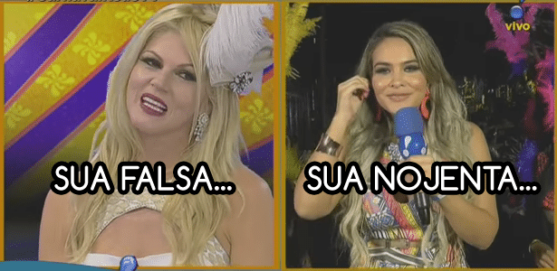 Val Marchiori e Geisy Arruda, que se desentenderam ao vivo na RedeTV!