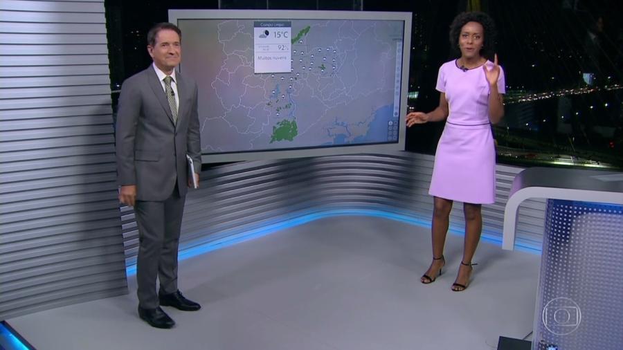 """Maju erra previsão do tempo de um bairro no """"SPTV"""" e é criticada por telespectadores - Reprodução/TV Globo"""