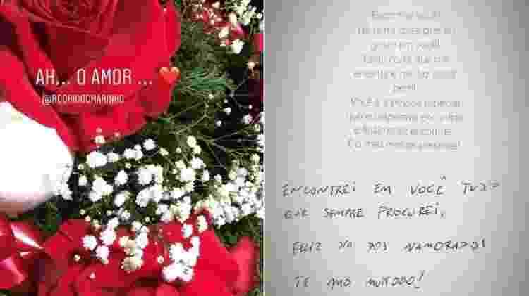 """Bailarina do """"Domingão do Faustão"""", Fernanda Batista ganha flores e declaração de amor do namorado, o jogador Rodriguinho - Reprodução/Instagram/fernandagbatista - Reprodução/Instagram/fernandagbatista"""