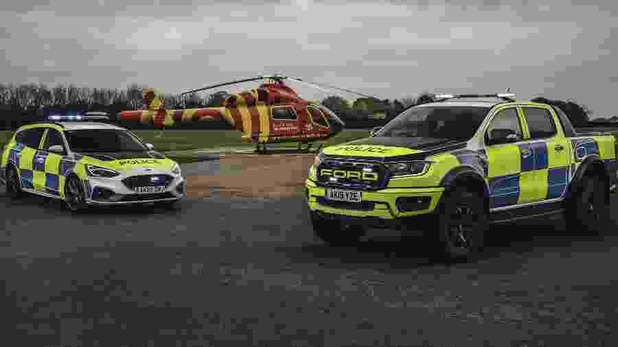 Ford Ranger Raptor e Ford Focus ST da polícia do Reino Unido - Divulgação