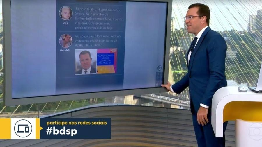 """Rodrigo Bocardi voltou ao """"Bom Dia SP"""" hoje - Reprodução / TV Globo"""