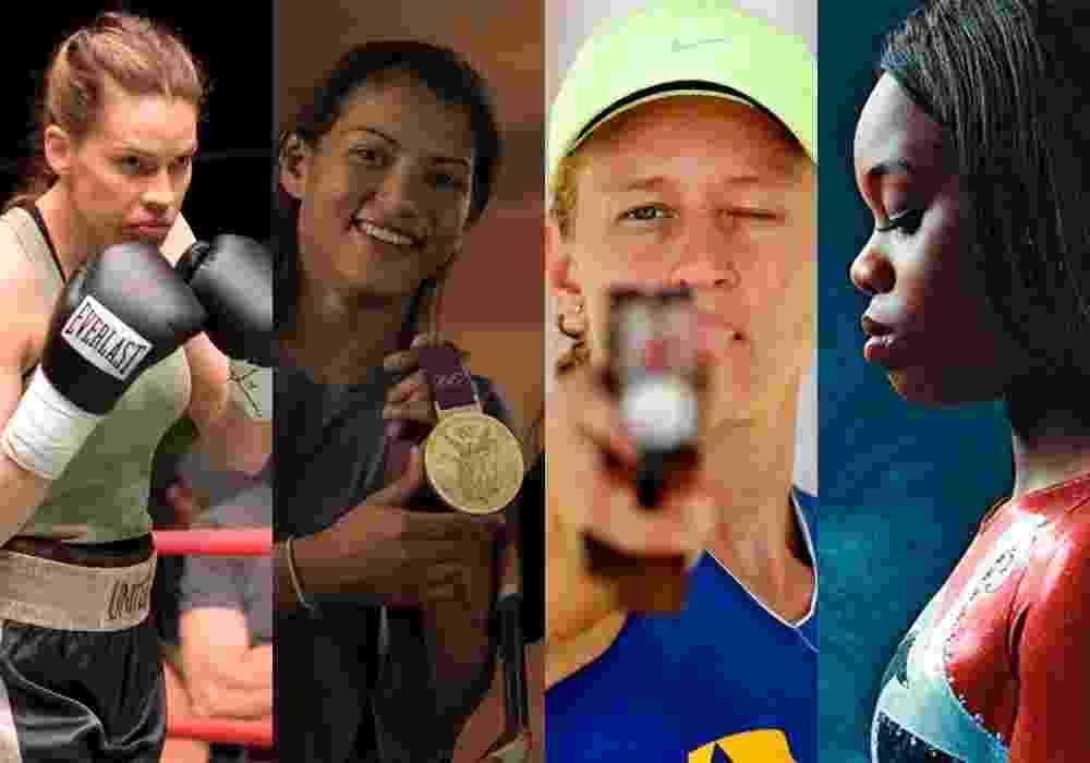 """Montagem com cenas dos filmes """"Menina de Ouro"""" (2004), """"Mulheres Olímpicas"""" (2015), """"5X Yane (2014)"""" e """"Gabby Douglas"""" (2014) - Montagem"""