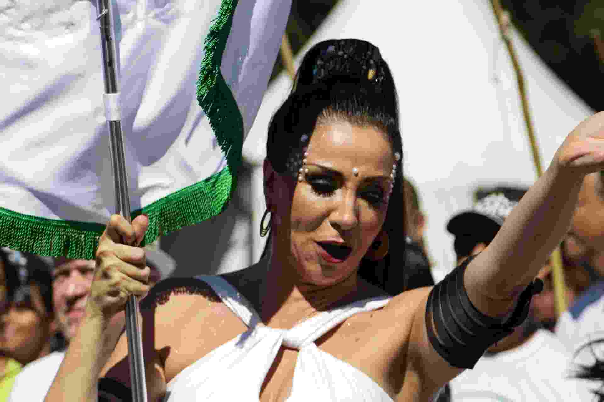 Porta-bandeira, a atriz Marisa Orth participa de desfile do bloco Os Capoeira, na abertura do bloco Bicho Maluco Beleza, no Ibirapuera - Walmor Carvalho/FotoRua/Estadão Conteúdo