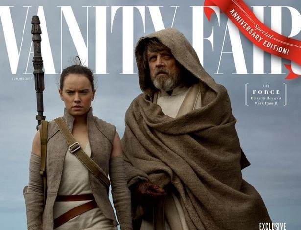 """A Força na capa da """"Vanity Fair"""": Revista traz primeiras imagens de """"Os Últimos Jedi"""", nesta versão Rey (Daisy Ridley) aparece ao lado de Luke Skywalker (Mark Hamill)"""