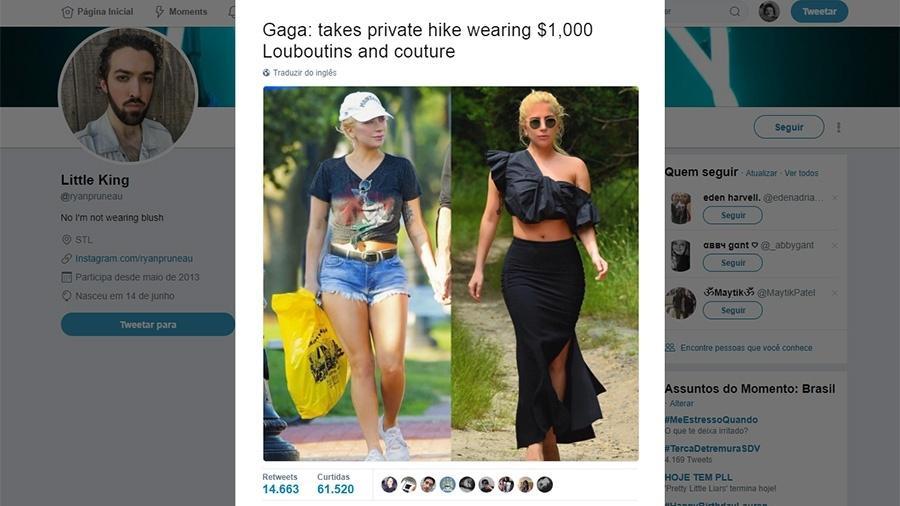 """Lady Gaga numa caminhada estilo """"gente como a gente"""" e no estilo Gaga - Reprodução/Twitter"""