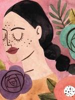 Ilustração de uma personagem representando o signo de Escorpião. Vestida com camisa na cor laranja, a personagem possui forma humana, enquadramento de busto e está posicionada de lado. Na cabeça, o cabelo longo com tranças sugere o formato da cauda de um escorpião. O fundo da imagem é rosa, acompanhado por algumas flores nas cores roxo, vermelho, verde e laranja.