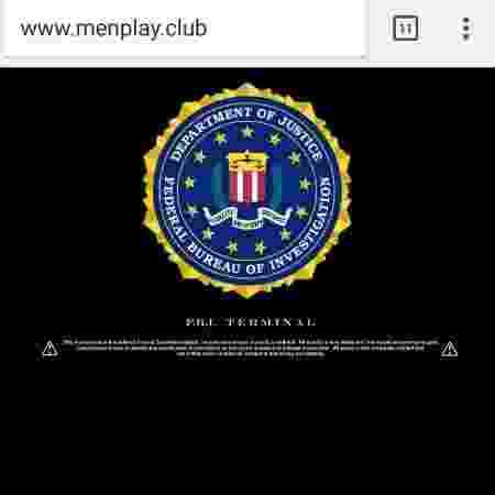 """Logomarca do FBI no site Men Play, que era hospedado na página oficial da """"Playboy"""" no Brasil - Reprodução - Reprodução"""