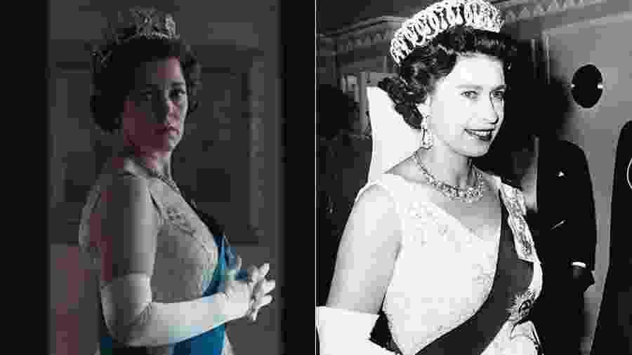 Olivia Colman como Elizabeth 2ª na terceira temporada de The Crown; à direita, a rainha em foto de 1967 - Reprodução e Getty Images