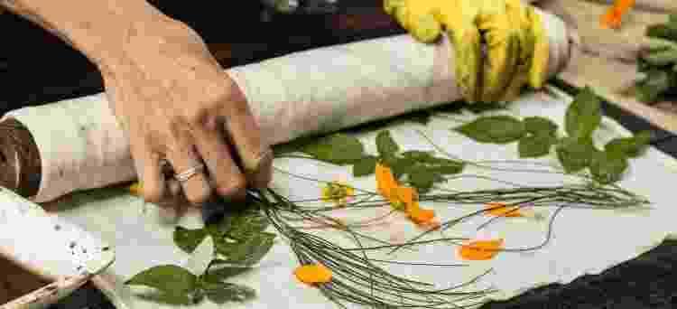 Folhas se transformam em estampas com técnica dominada pela artista - Arquivo Pessoal - Arquivo Pessoal