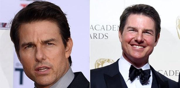 Tom Cruise em 2013 (foto à esq.) e após apresentar o Bafta 2016 no domingo (14) - AFP/EFE