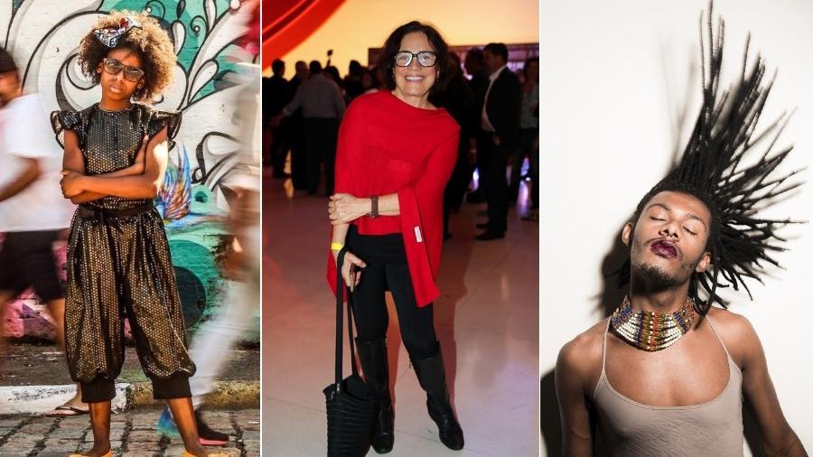 A rapper MC Soffia, a atriz Regina Duarte e o cantor Liniker integram a programação especial de aniversário de São Paulo - Montagem/UOL/Divulgação