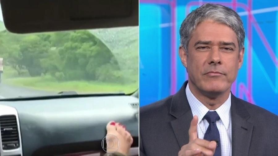 William Bonner repreende telespectadora que filmou pelo celular com o pé no painel do carro - Reprodução/TV Globo
