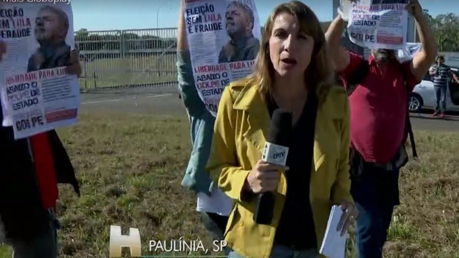 A repórter Hellen Saconi acompanha protesto em Paulínia - Reprodução/Globo