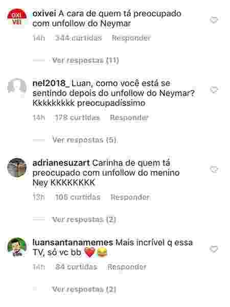 Neymar para de seguir Luan Santana  e fãs ironizam no Instagram do cantor  - Reprodução/Instagram - Reprodução/Instagram