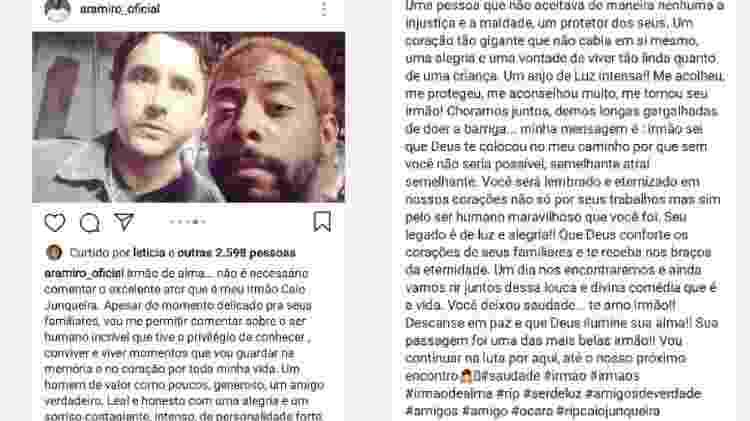 André Ramiro homenageia Caio Junqueira - Reprodução/Instagram - Reprodução/Instagram