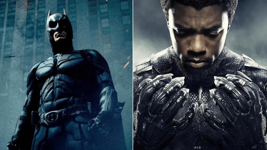 """Pôster de """"Batman: O Cavaleiro das Trevas"""" (2008) e de """"Pantera Negra"""" (2018) - Reprodução/Montagem"""