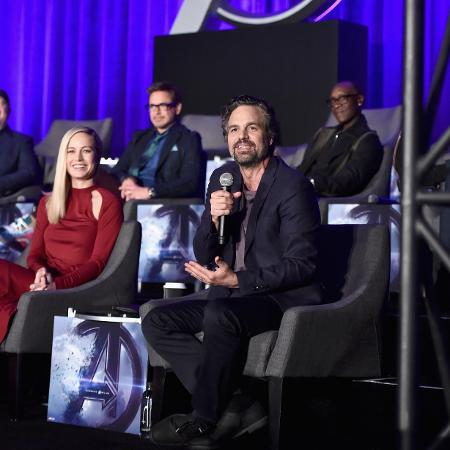 "Mark Ruffalo, Brie Larson, Robert Downey Jr. e Don Cheadle em coletiva sobre ""Vingadores: Ultimato"" - Alberto E. Rodriguez/Getty Images for Disney"
