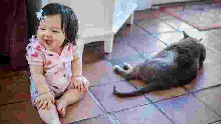 Procure manter o chão da casa sempre limpo, para evitar que a criança entre em contato com partículas de cocô do gato ao engatinhar - iStock