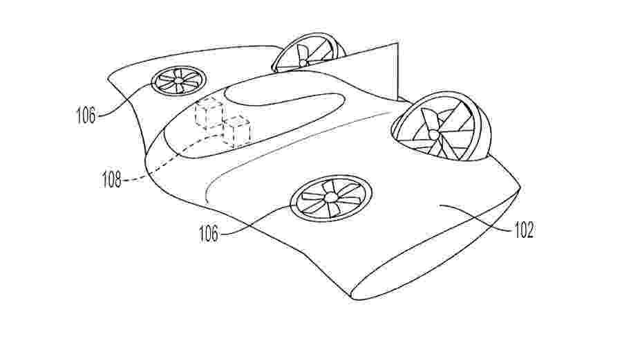 Veículo voador patenteado pela Porsche - Reprodução