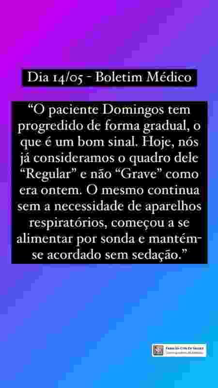 Equipe de Dominguinhos compartilhou boletim médico - Reprodução/Instagram @dominguinhosestacio.oficial - Reprodução/Instagram @dominguinhosestacio.oficial