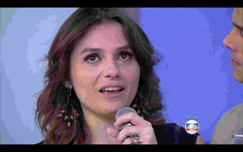 """12.fev.2016 - Monica Iozzi se emociona e fica com os olhos marejados ao se despedir do """"Vídeo Show"""" e agradecer à equipe do programa e ao público - Reprodução/TV Globo"""