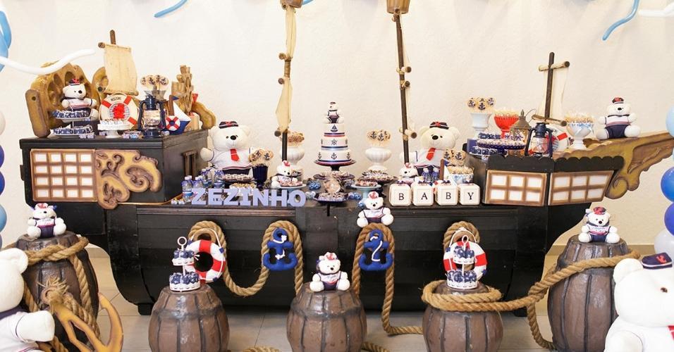 mesa principal festa urso marinheiro