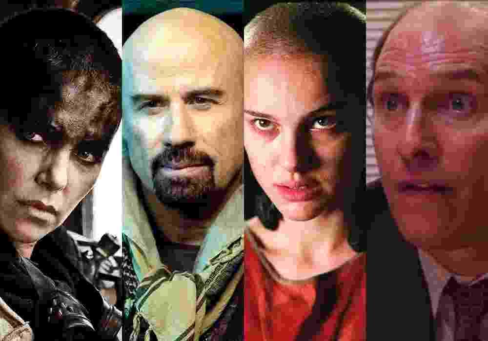"""Montagem com Charlize Theron em """"Mad Max: Estrada da Fúria"""" (2015), John Travolta em """"Dupla Implacável"""" (2010), Natalie Portman em """"V de Vingança"""" (2005) e Matthew McConaughey em """"Gold"""" (2016) - Montagem/Reprodução"""