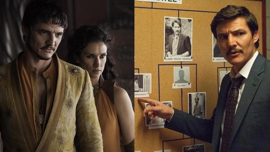 """Pedro Pascal como o Oberyn de """"Game of Thrones"""" e o agente Javier Peña de """"Narcos"""" - Divulgação e Montagem UOL"""