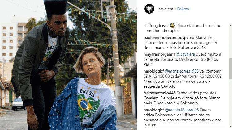 Críticas e manifestações de apoio à Cavalera após a estampa com o rosto de Bolsonaro se tornar viral - Reprodução/Instagram - Reprodução/Instagram