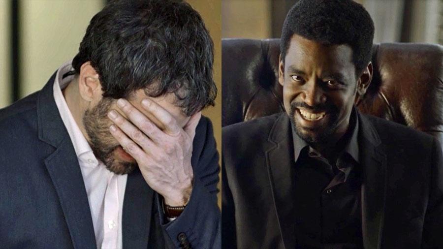 """Edgar fica abalado ao descobrir que Roberval é seu chefe em """"Segundo Sol"""" - Reprodução/Globo"""